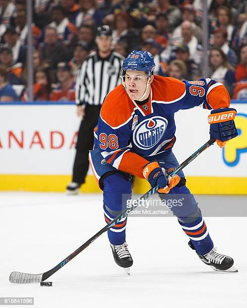 Jesse Puljujarvi of the Edmonton Oilers skates against the Buffalo Sabres on October 16 2016 at Rogers Place in Edmonton Alberta Canada