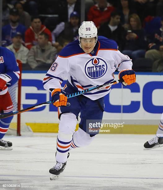 Jesse Puljujarvi of the Edmonton Oilers skates against the New York Rangers at Madison Square Garden on November 3 2016 in New York City The Rangers...