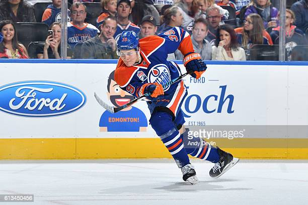 Jesse Puljujarvi of the Edmonton Oilers skates during a preseason game against the Vancouver Canucks on October 8 2016 at Rogers Place in Edmonton...