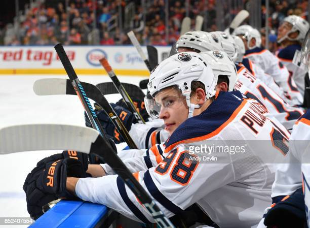 Jesse Puljujarvi of the Edmonton Oilers skates during the preseason game against the Calgary Flames on September 18 2017 at Rogers Place in Edmonton...
