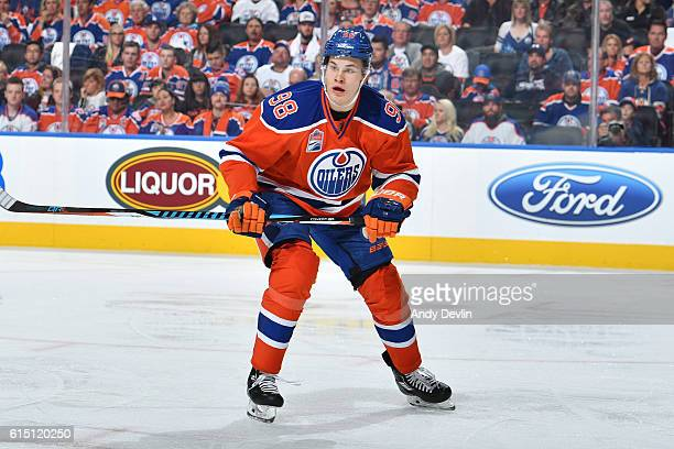 Jesse Puljujarvi of the Edmonton Oilers skates on the ice during the season opener against the Calgary Flames on October 12 2016 at Rogers Place in...