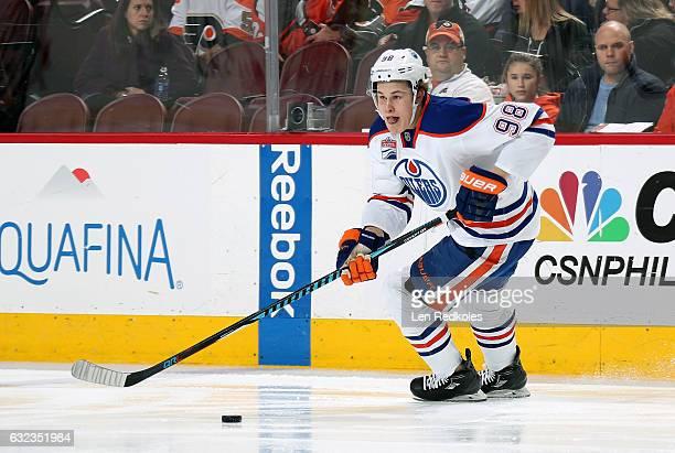 Jesse Puljujarvi of the Edmonton Oilers skates the puck against the Philadelphia Flyers on December 8 2016 at the Wells Fargo Center in Philadelphia...