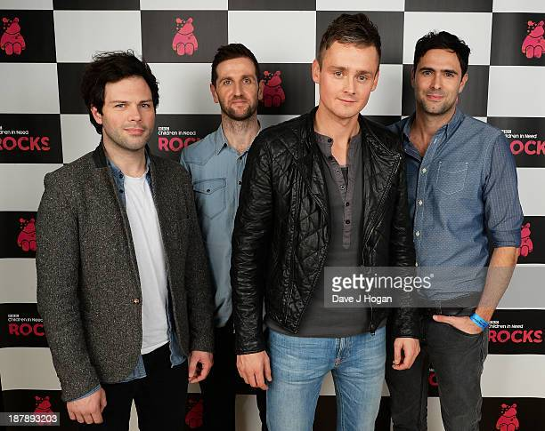 Jesse Quinn Richard Hughes Tom Chaplin and Tim RiceOxley of Keane pose backstage during the 'BBC Children In Need Rocks' at Hammersmith Eventim on...