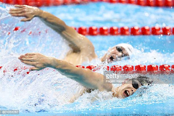 Jesse Reynolds of New Zealand competes in the Men's 400m Freestyle S9 heat on day 2 of the Rio 2016 Paralympic Games at Olympic Aquatics Centre on...