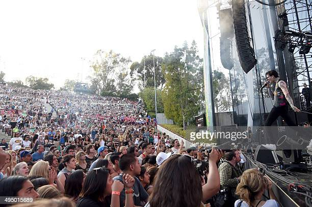 Jesse Rutherford of The Neighborhood performs at Verizon Wireless Amphitheater on May 31 2014 in Irvine California
