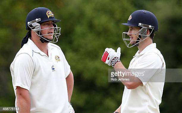 Jesse Ryder and Neil Broom of Otago during day three of the Plunket Shield match between Otago and Central Districts on December 22 2013 in Dunedin...