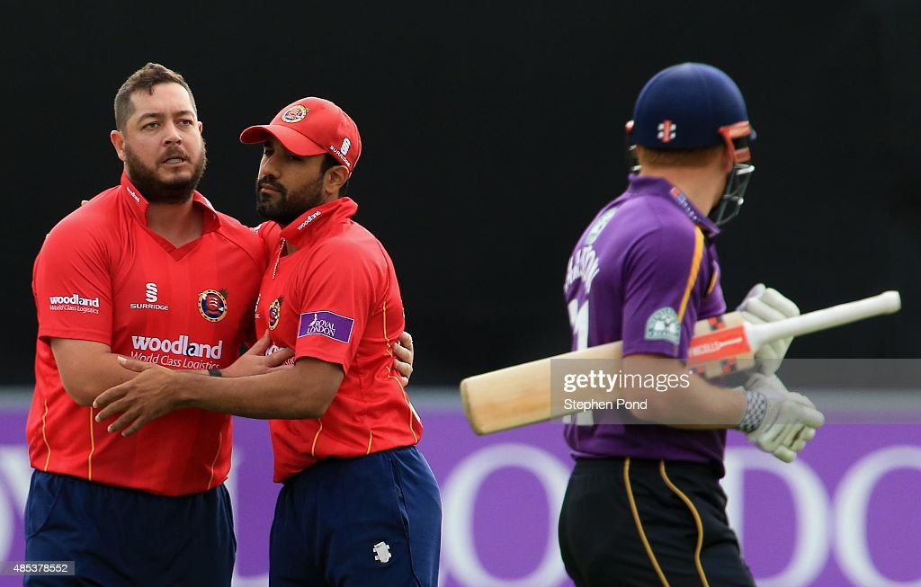 Jesse Ryder and Ravi Bopara of Essex celebrate the dismissal of Jonny Bairstow of Yorkshire during the Royal London OneDay Cup Quarter Final match...