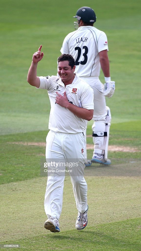 Jesse Ryder of Essex celebrates taking a wicket during day one of the LV County Championship match between Essex and Worcestershire at The Ford...