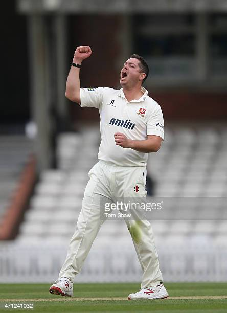 Jesse Ryder of Essex celebrates taking the wicket of Jason Roy of Surrey during day 1 of the LV= County Championship division 2 match between Surrey...