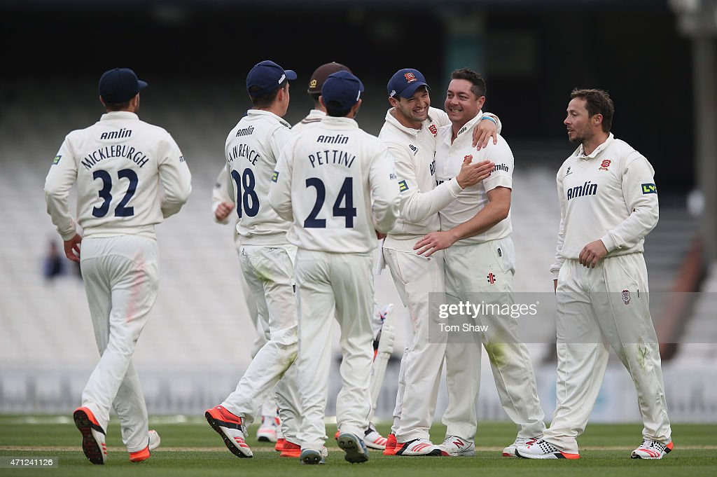 Jesse Ryder of Essex celebrates taking the wicket of Kevin Pietersen of Surrey during day 1 of the LV= County Championship division 2 match between...