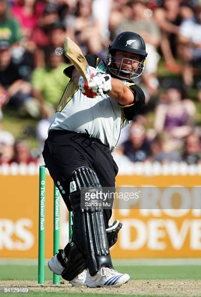 Jesse Ryder of the Black Caps hits a four during the Twenty20 International match between the New Zealand Black Caps and the West Indies at Eden Park...