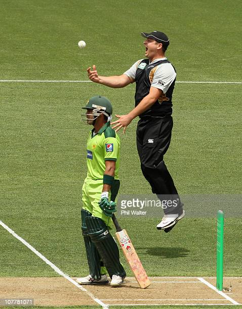 Jesse Ryder of the Blackcaps celebrates Tim Southee's hat trick wicket of Umar Akmal of Pakistan during game one of the Twenty20 series between New...