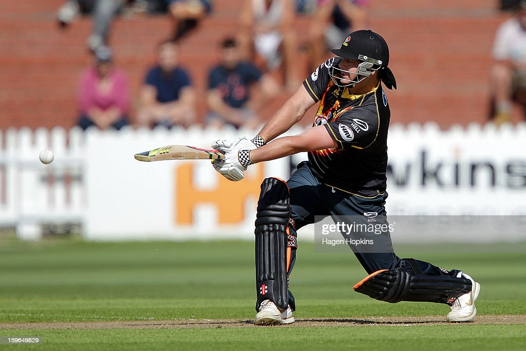 Jesse Ryder of Wellington bats during the HRV Cup Twenty20 Preliminary Final between the Wellington Firebirds and the Auckland Aces at Basin Reserve on January 18, 2013 in Wellington, New Zealand.
