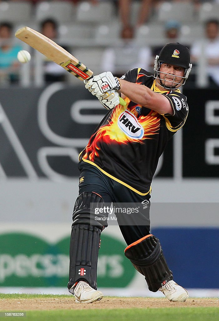Jesse Ryder of Wellington bats during the HRV Cup Twenty20 match between the Auckland Aces and Wellington Firebirds at Eden Park on December 28, 2012 in Auckland, New Zealand.
