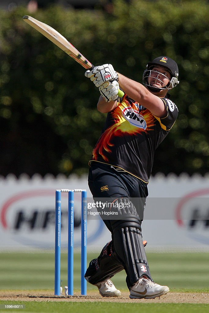 Jesse Ryder of Wellington hits a boundary during the HRV Cup Twenty20 Preliminary Final between the Wellington Firebirds and the Auckland Aces at Basin Reserve on January 18, 2013 in Wellington, New Zealand.
