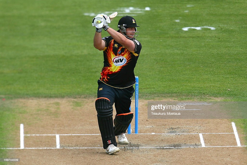 Jesse Ryder of Wellington hits to the offside during the HRV T20 Final match between the Otago Volts and the Wellington Firebirds at University Oval on January 20, 2013 in Dunedin, New Zealand.