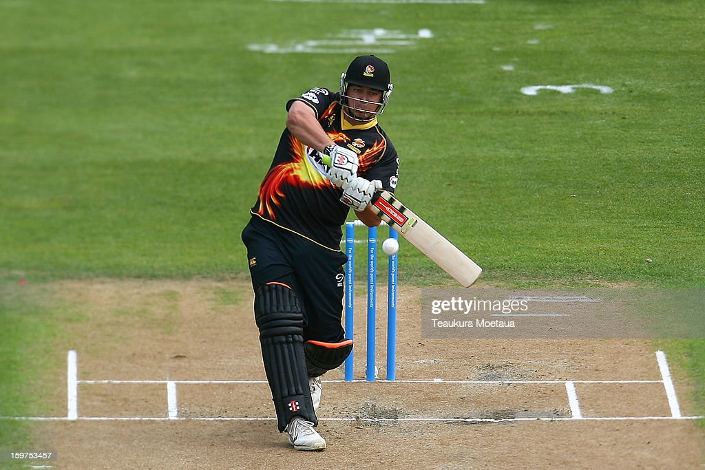 Jesse Ryder of Wellington hits to the onside during the HRV T20 Final match between the Otago Volts and the Wellington Firebirds at University Oval on January 20, 2013 in Dunedin, New Zealand.