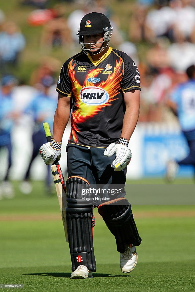 Jesse Ryder of Wellington leaves the field after being dismissed during the HRV Cup Twenty20 Preliminary Final between the Wellington Firebirds and the Auckland Aces at Basin Reserve on January 18, 2013 in Wellington, New Zealand.