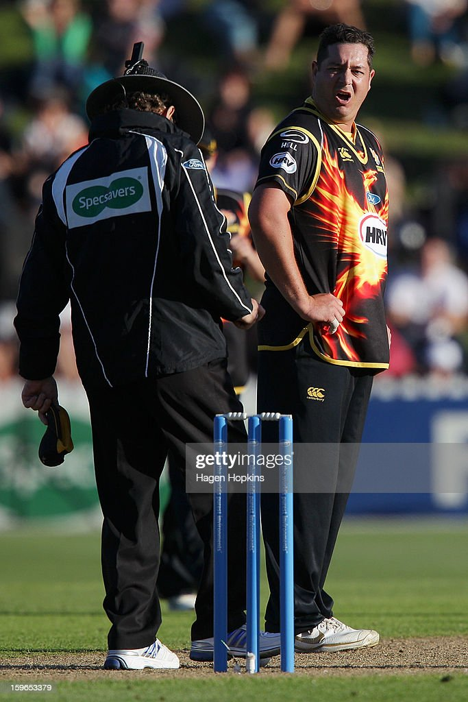 Jesse Ryder of Wellington questions the umpire's decision during the HRV Cup Twenty20 Preliminary Final between the Wellington Firebirds and the Auckland Aces at Basin Reserve on January 18, 2013 in Wellington, New Zealand.