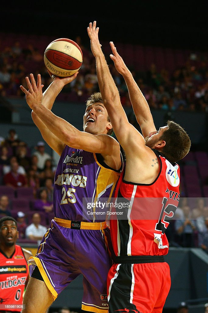 Jesse Sanders of the Kings drives to the basket during the round three NBL match between the Sydney Kings and the Perth Wildcats at Sydney Entertainment Centre in October 27, 2013 in Sydney, Australia.