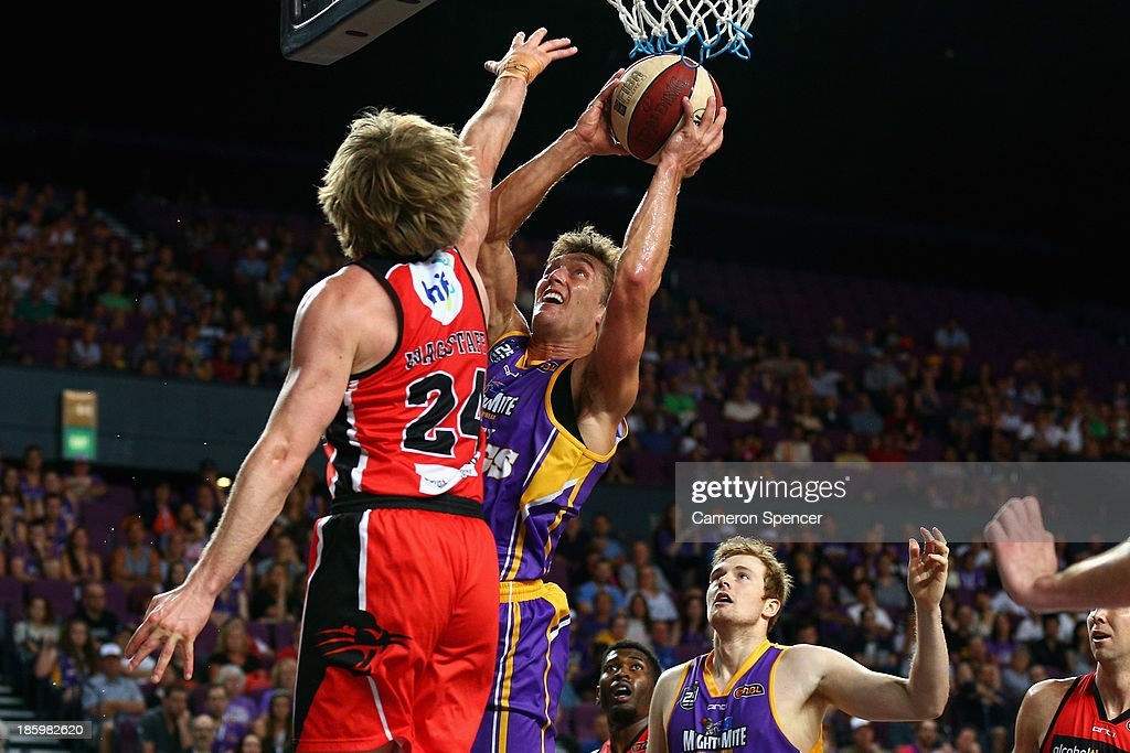 Jesse Sanders of the Kings lays up during the round three NBL match between the Sydney Kings and the Perth Wildcats at Sydney Entertainment Centre in October 27, 2013 in Sydney, Australia.