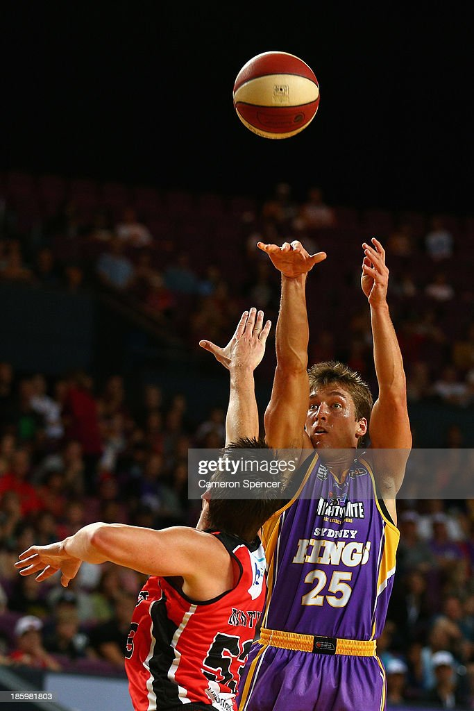 Jesse Sanders of the Kings takes a shot during the round three NBL match between the Sydney Kings and the Perth Wildcats at Sydney Entertainment Centre in October 27, 2013 in Sydney, Australia.