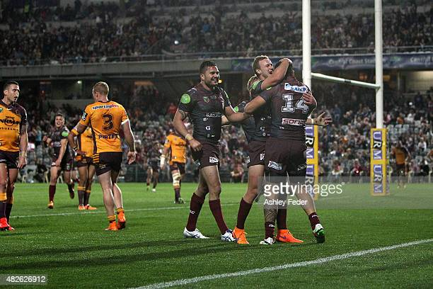 Jesse SeneLefao of Manly scores a try during the round 21 NRL match between the Manly Sea Eagles and the Brisbane Broncos at Central Coast Stadium on...