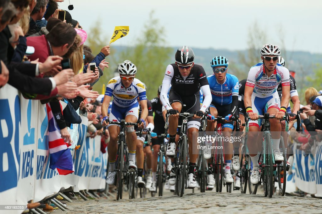 Jesse Sergent of Belgium and the Trek Factory Racing team leads the peloton up the Kwaremont during the 98th Tour of Flanders from Bruges to Oudenaarde on April 6, 2014 in Oudenaarde, Belgium.