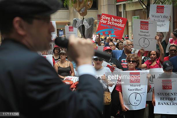 Jesse Sharkey vice president of the Chicago Teachers Union speaks to teachers during a protest June 22 2011 in Chicago Illinois Hundreds of teachers...