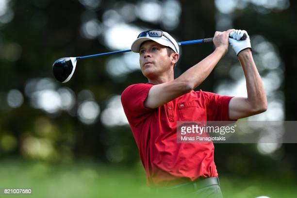 Jesse Smith of Canada hits his tee on the first hole during round three of the Mackenzie Investments Open at Club de Golf Les Quatre Domaines on July...