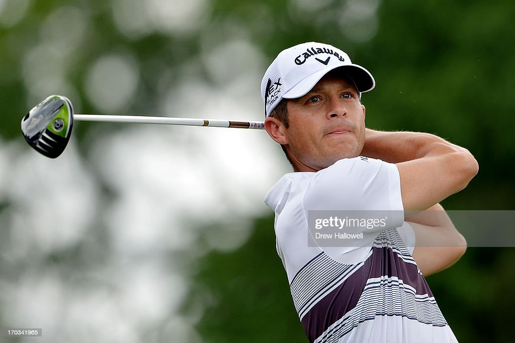 Jesse Smith of the United States hits a tee shot during a practice round prior to the start of the 113th U.S. Open at Merion Golf Club on June 11, 2013 in Ardmore, Pennsylvania.