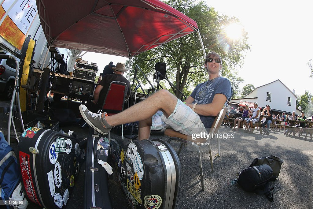 Jesse Terry relaxes backstage before he peforms at Day One of the Rockland-Bergen Music Festival at German Masonic Park on June 25, 2016 in Tappan, New York.