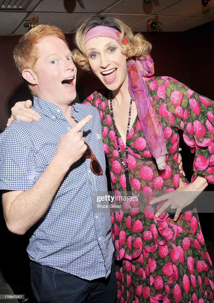 Jesse Tyler Ferguson and Jane Lynch as 'Miss Hannigan' pose backstage at the hit musical 'Annie' on Broadway at The Palace Theater on June 19 2013 in...