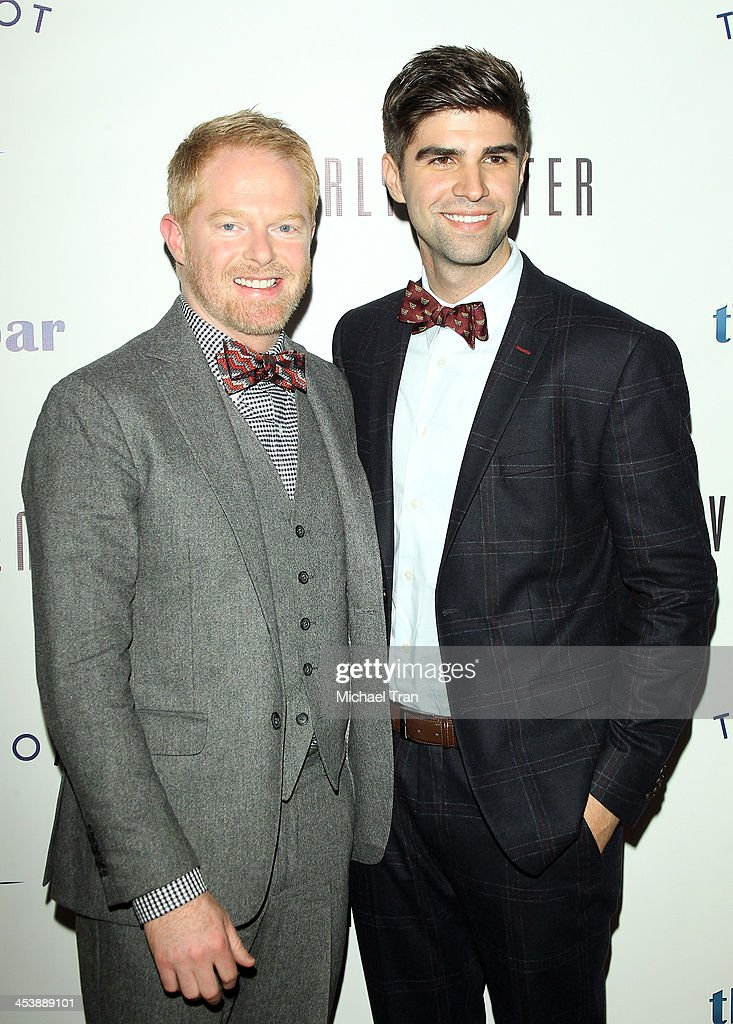 <a gi-track='captionPersonalityLinkClicked' href=/galleries/search?phrase=Jesse+Tyler+Ferguson&family=editorial&specificpeople=633114 ng-click='$event.stopPropagation()'>Jesse Tyler Ferguson</a> (L) and <a gi-track='captionPersonalityLinkClicked' href=/galleries/search?phrase=Justin+Mikita&family=editorial&specificpeople=7458663 ng-click='$event.stopPropagation()'>Justin Mikita</a> arrive at the 'Tie The Knot' pop-up store opening held at The Beverly Center on December 5, 2013 in Los Angeles, California.