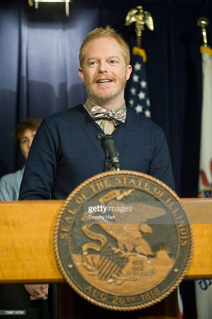 <a gi-track='captionPersonalityLinkClicked' href=/galleries/search?phrase=Jesse+Tyler+Ferguson&family=editorial&specificpeople=633114 ng-click='$event.stopPropagation()'>Jesse Tyler Ferguson</a> attends the Religious Freedom and Marriage Fairness Act press conference at James R. Thompson Center on January 2, 2013 in Chicago, Illinois.