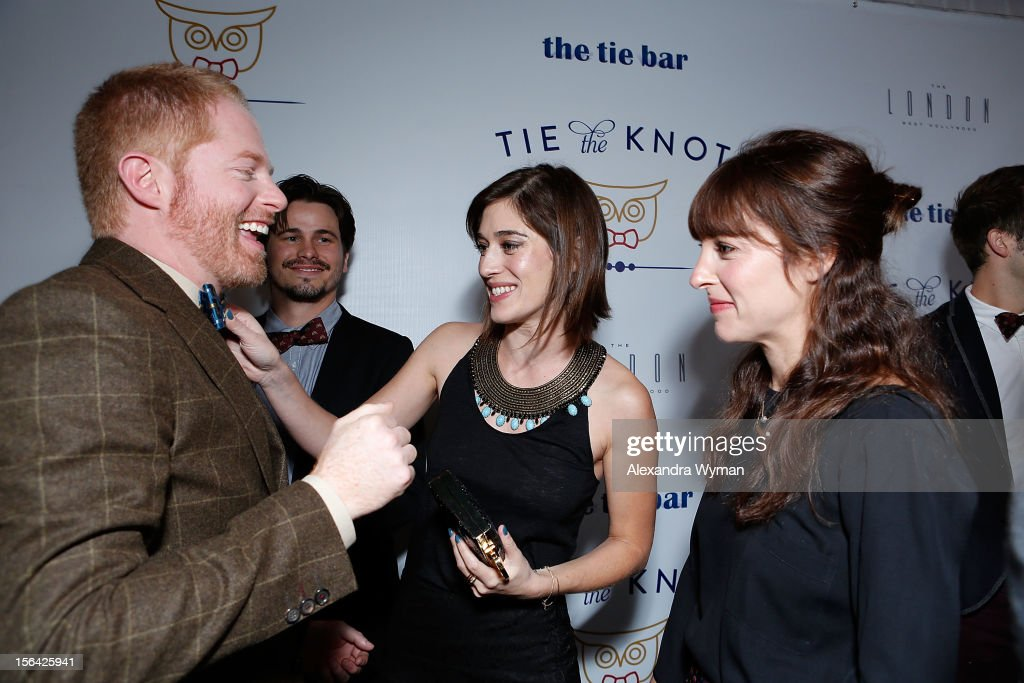 Jesse Tyler Ferguson, Lizzy Caplan and Leslie Sloane at the launch of Tie The Knot, a charity benefitting marriage equality through the sale of limited edition bowties available online at TheTieBar.com/JTF held at The London West Hollywood on November 14, 2012 in West Hollywood, California.