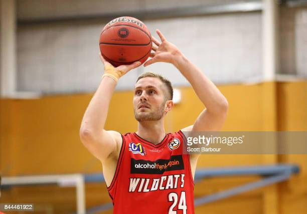 Jesse Wagstaff of the Perth Wildcats controls the ball during the 2017 NBL Blitz preseason match between the Perth Wildcats and the Adelaide 36ers at...