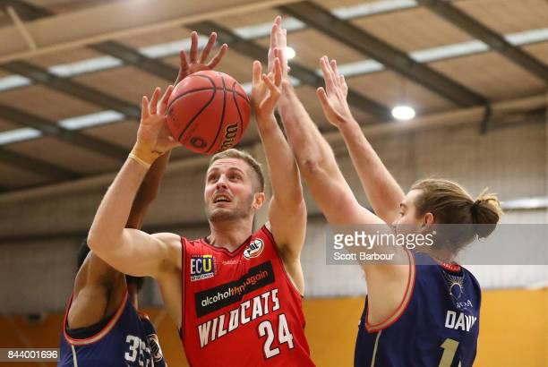 Jesse Wagstaff of the Perth Wildcats drives to the basket during the 2017 NBL Blitz preseason match between the Perth Wildcats and the Adelaide 36ers...