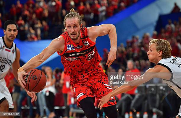 Jesse Wagstaff of the Perth Wildcats looks to pass the ball during the round 17 NBL match between the Perth Wildcats and Melbourne United at Perth...