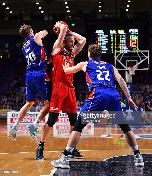 Jesse Wagstaff of the Perth Wildcats rebounds during the round 12 NBL match between the Adelaide 36ers and the Perth Wildcats at Titanium Security...