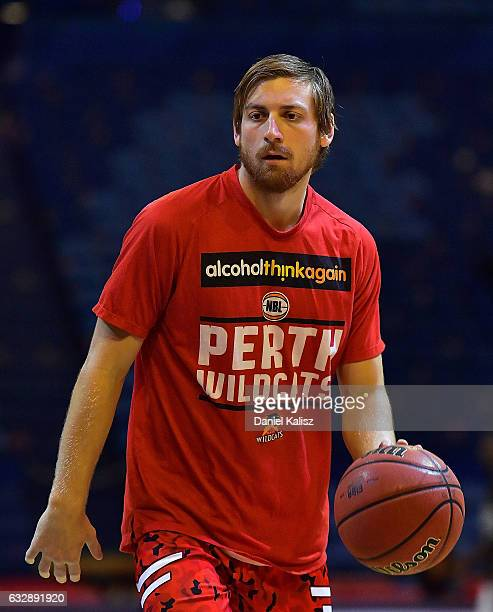 Jesse Wagstaff of the Perth Wildcats warms up prior to the round 17 NBL match between the Perth Wildcats and Melbourne United at Perth Arena on...