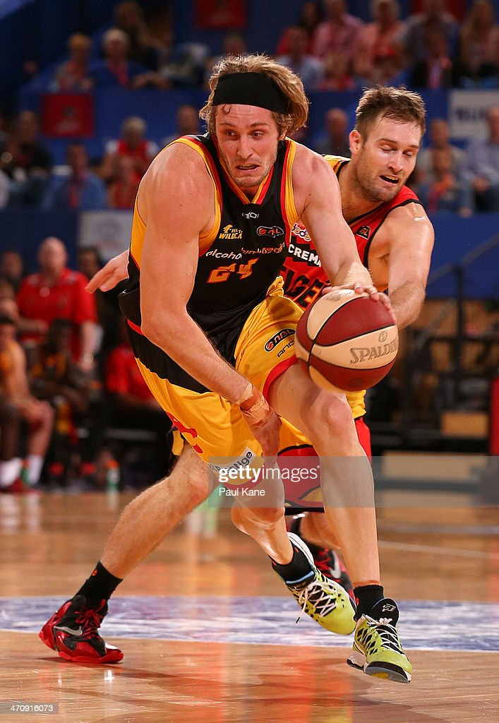 Jesse Wagstaff of the Wildcats brings the ball up the court against Mark Worthington of the Tigers during the round 19 NBL match between the Perth Wildcats and the Melbourne Tigers at Perth Arena on February 21, 2014 in Perth, Australia.