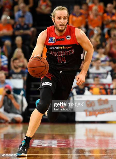 Jesse Wagstaff of the Wildcats dribbles the ball during the round 18 NBL match between the Cairns Taipans and the Perth Wildcats at the Cairns...