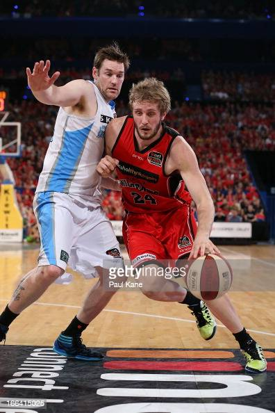 Jesse Wagstaff of the Wildcats drives to the basket against Dillon Boucher of the Breakers during game two of the NBL Grand Final series between the...