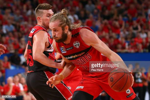 Jesse Wagstaff of the Wildcats drives to the basket during game three of the NBL Grand Final series between the Perth Wildcats and the Illawarra...