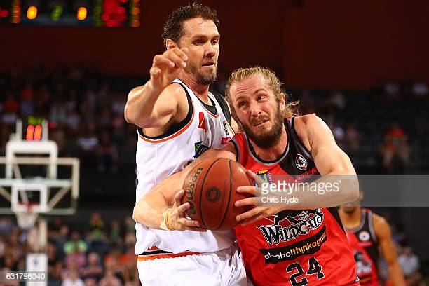 Jesse Wagstaff of the Wildcats drives to the basket during the round 15 NBL match between the Cairns Taipans and the Perth Wildcats at Cairns...