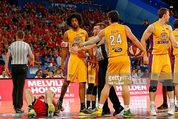 Jesse Wagstaff of the Wildcats lies on the floor after being fouled off the ball by Josh Childress of the Kings during the round three NBL match...