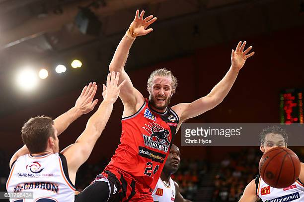 Jesse Wagstaff of the Wildcats loses the ball during the round 15 NBL match between the Cairns Taipans and the Perth Wildcats at Cairns Convention...