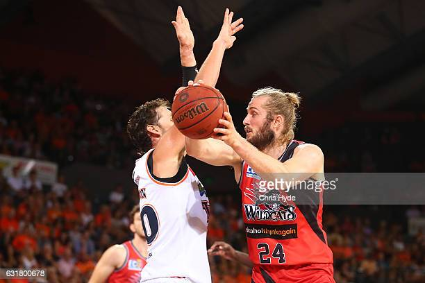 Jesse Wagstaff of the Wildcats passes during the round 15 NBL match between the Cairns Taipans and the Perth Wildcats at Cairns Convention Centre on...
