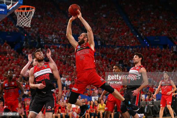 Jesse Wagstaff of the Wildcats puts a shot up during game three of the NBL Grand Final series between the Perth Wildcats and the Illawarra Hawks at...